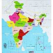 Skillofun Map of India Jigsaw Floor Puzzle in Wooden Box, Multi Color