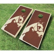 AJJCornhole Horse 10 Piece Cornhole Set 109 - Horse Stained Ebony - red Bean Bag Color: Red/Navy Blue, Board Finish: Rosewood