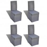 vidaXL Комплект трапезарни столове с покривало, 4 броя, цвят тъмно сив