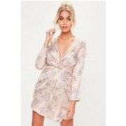 Missguided Petite Floral Printed Satin Wrap Dress, Pink