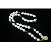 """17"""" 8Mm White Drop 14Ct Gold Pearl Necklace & Lapis"""