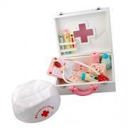 Generic Children Wooden Doctor Medical Set Kids Role Play Pretend Game Carry Case