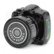 Y2000 Ultra Mini 2.0MP CMOS camara de video digital w / SD Card Slot - Negro