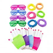80s Retro Rock Pop Star Disco Dress-Up Party Pack Supply Set with Diva Finger-less Net Gloves Shutter Style Glasses Jelly Neon Gel Bracelets for Theme Events Colorful Assortment by Super Z Outlet