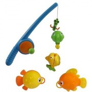 Rod and Reel Fishing Fun Bathtub Bath Toy Set for Kids with Fish and Fishing Pole