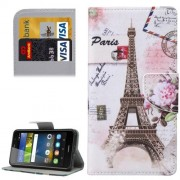Huawei Y6 Pro Eiffel Tower Pattern Leather Case with Holder & Card Slots & Wallet