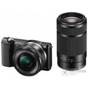 Kit aparat foto digital Sony Alpha 5000 (cu obiectiv de 16-50mm + 55-210mm), negru