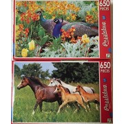 Bundle Lot Of 2 Puzzlebug 650 Piece Puzzles By Lpf: Peacock Courting In A Flowerbed ~ Young Horses Running On A Pasture