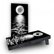 Custom Cornhole Boards Full Moon Over the Water Cornhole Game Set CCB182-2x4-AW / CCB182-2x4-C Bag Fill: All Weather Plastic Resin