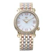 【52%OFF】LA LUXE ラウンド ビジュー ステンレスベルト ウォッチ ゴールドミックス ファッション > 腕時計~~レディース 腕時計