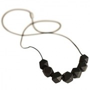 Little Teether Geo Teething Necklace for Baby Nursing - Stylish Silicone Necklace for Moms Teether for Babies. Provides Teething Pain Relief. Teething Remedy Approved by Mothers! - Jet Black