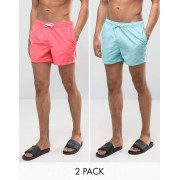 ASOS Swim Shorts 2 Pack In Blue & Pink Short Length SAVE - Blue/pink (Sizes: XL, 2XL)