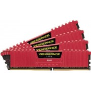 Memorii Corsair Vengeance LPX Red DDR4, 4x4GB, 3000 MHz, CL 15