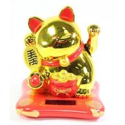 Large Gold Happy Beckoning Fortune Happy Cat Maneki Neko Solar Toy Home Decor Business Part Gift ~We Pay Your Sales Tax