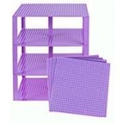 "Premium Lavender Stackable Base Plates 4 Pack 10"" X 10"" Baseplate Bundle With 60 Lavender Bonus Building Bricks (Lego Compatible) Tower Construction"