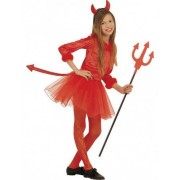 Vegaoo Kleiner roter Teufel Halloween Ballettröckchen Kostüm für Mädchen