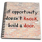 3dRose db_180026_2 Opportunity Knows Black Lettering on a Brick Wall Background Memory Book 12 by 12-Inch