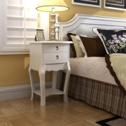 vidaXL Нощно шкафче с две чекмеджета/ масичка за телефон, цвят бял