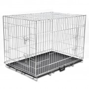 vidaXL Сгъваема метална клетка за куче, размер XL