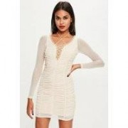 Missguided Nude Mesh Gathered Lace Up Front Bodycon Dress, Beige