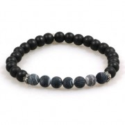 Heaven Eleven heren Armband hout Frosted Agaat