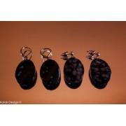 Cercei obsidian cu mărgele ondulate și ovale, cu șurub