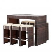Tuinbar Paradise Lounge (7-delig) - van polyrotan in bruin, Maison Belfort