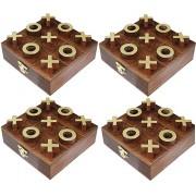 Juego de 4 - giro de madera tic tac toe juego de mesa viaje - tres en raya Rompecabezas juego -11.4 x 11,4 x 2 cm