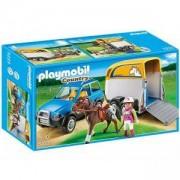 Комплект Плеймобил 5223 - Джип с ремарке за кон - Playmobil, 290860