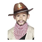 Smiffy's Cowboy Hat with Sheriff Badge - Brown