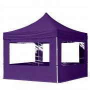 Intent24 3x3m Tente pliante avec côtés (dont 4 panoramiques), ECONOMY Alu, violet