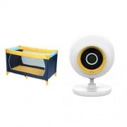Hauck 604038 Dream'n Play Letto da viaggio, 60x120 cm, colore: Blu/Giallo + D-Link DCS-800L EyeOn Baby Monitor Junior, Bianco