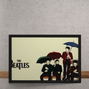 Quadro Decorativo Beatles Ilustracao Guarda Chuva 25x35