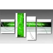 4 Quadri Arte Moderna Dipinti a Mano Verde Acido