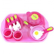PowerTRC Cook and Serve Breakfast Playset for Kids with Pink Tray Kitchen Cookware Pots and Pans Egg Play Food