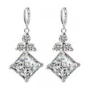 rosegal Pair of Square Faux Zircon Rhinestone Earrings
