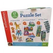 infantiono 3D Puzzle Set - 17 Fun Puzzles Ages 3-6 95 Pieces