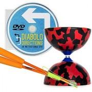 Red and Black Jester Diabolo & Orange Superglass Sticks Set with Diabolo Directions DVD!
