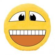 Soft Smiley Emoticon Yellow Round Cushion Pillow Stuffed Plush Toy Doll (Happy Smile)