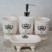 Set 4 piese de baie, crem, cu imprimeu coroana regala si mesaj