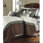 8 Piece Embroidered King Size Comforter Set Brown and White