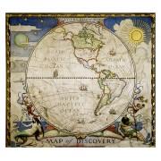 Wereldkaart - Wereldkaart Western hemisphere - westelijk halfrond, 51 x 46 cm | National Geographic