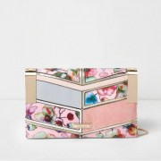 River Island Womens Pink floral print panelled clutch chain bag
