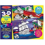 Melissa & Doug Easy-to-See 3-D Kids Coloring Pad - Dinosaurs Knights Space and More