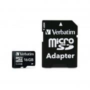 Card Verbatim microSDHC 16GB Clasa 10 cu adaptor