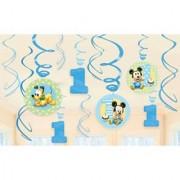 12-Piece Mickeys 1st Birthday Swirl Decorations Multicolored