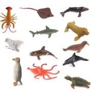 Banggood 12pcs Plastic Ocean Creatures Sea Lion Dolphin Animals Figure Kids Toy Gift