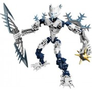 Lego Year 2009 Bionicle Glatorian Legends DVD Series 7 Inch Tall Figure Set # 8988 : White GELU with Ice Slicer and Spiked Thornax Launcher (Total Pieces: 52)