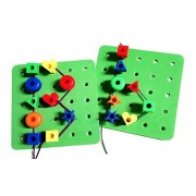 Alphabet & Letters Jumbo Lacing Pegboard Set with Tote and FREE Activity Guide PDF - A Montessori Uppercase &...