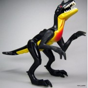 ONE BLACK WITH YELLOW RAPTOR DINOSAUR LEGO MINIFIGURE